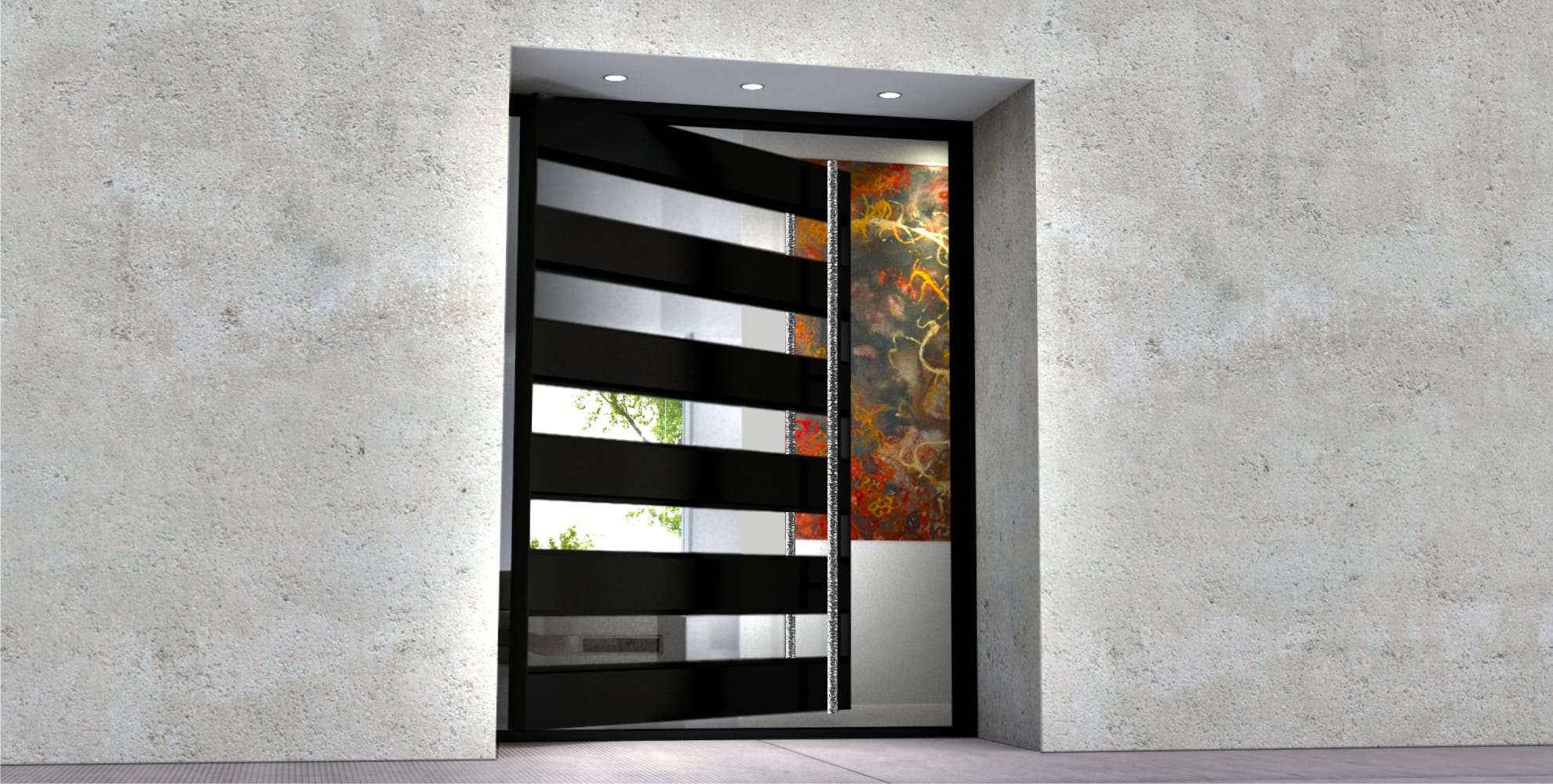 glass and black metal pivot single front door with long round polished door hardware