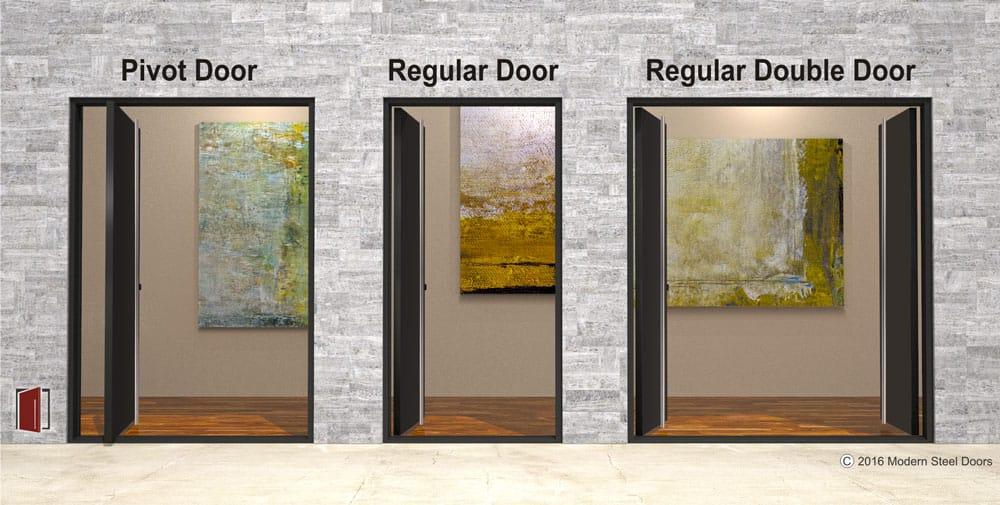 different types of front doors including pivot doors versus regular doors