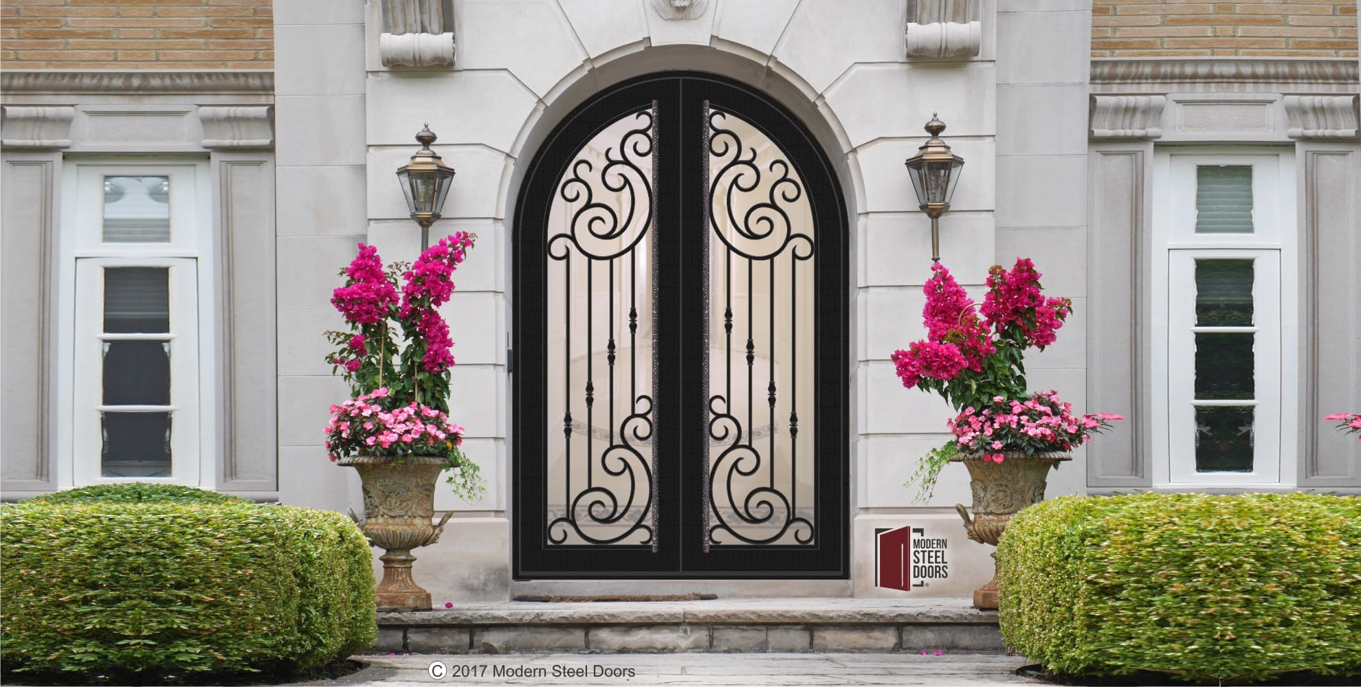 arched transitional double door with scrolls and long round modern door pulls