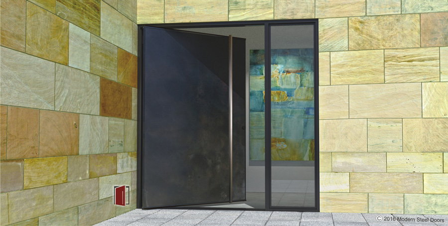 modern front door made of metal and long square stainless steel door handles with sidelight